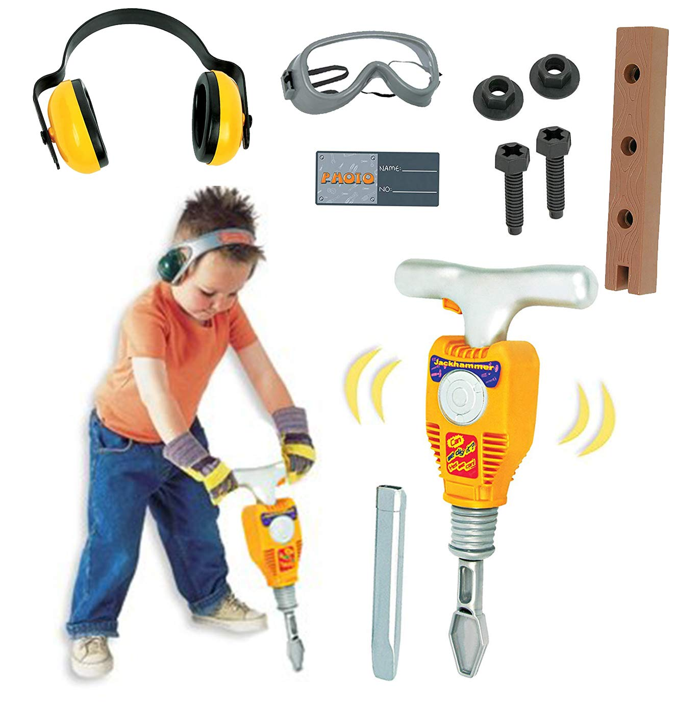 Liberty Imports Junior Engineer Jackhammer Toy Construction Tool Drill with Earmuffs, Safety Goggles, and Accessories