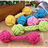 RICISUNG Pet Dog Braided Cotton Rope Knot Ball Chew Toys Teeth Cleaning Ball