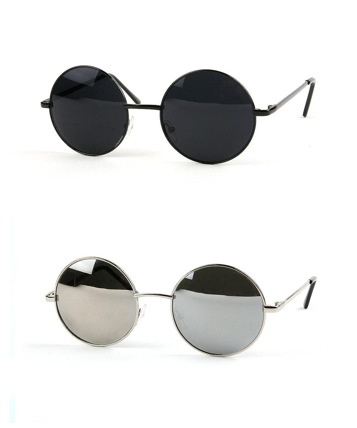 c9a14846c0c Amazon.com  John Lennon 60 s Vintage Round Hippie Sunglasses (2 pcs Black- Smoke   Gold-BlueMirror)  Clothing