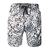 Mens Leopard Prints Swim Trunks Elastic Waist Quick Dry Board Shorts