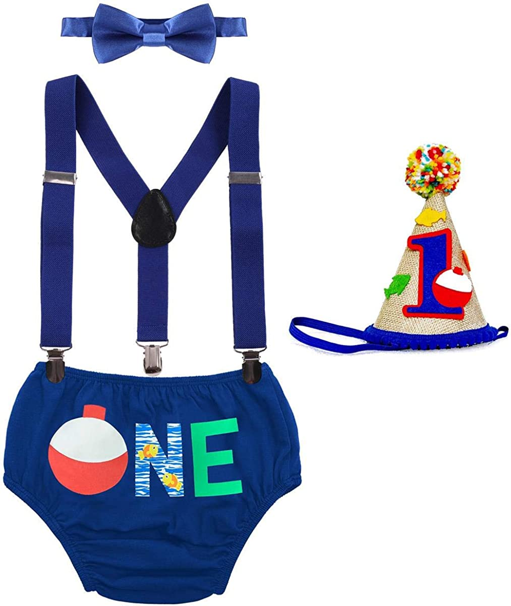 Bow Tie Pants Headband 4pcs Set Photo Props ODASDO Baby Boy 1st // 2nd Birthday Cake Smash Outfit Suspender