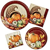 Autumn Bounty Party Supply Pack! Bundle Includes Paper Plates & Napkins for 8 Guests in a Pumpkin Harvest Theme