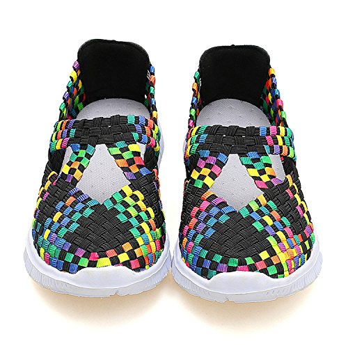 Dometool Women Colorful Rocker Sole Shoes Handmade Knit Shake Shoes Slip Ons Sneakers