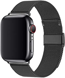 Wolait Stainless Steel Mesh Sport Loop Replacement Band Compatible with Apple Watch 40mm 38mm Series 6 5 4 3 2 1 SE (Black, 38mm/40mm)
