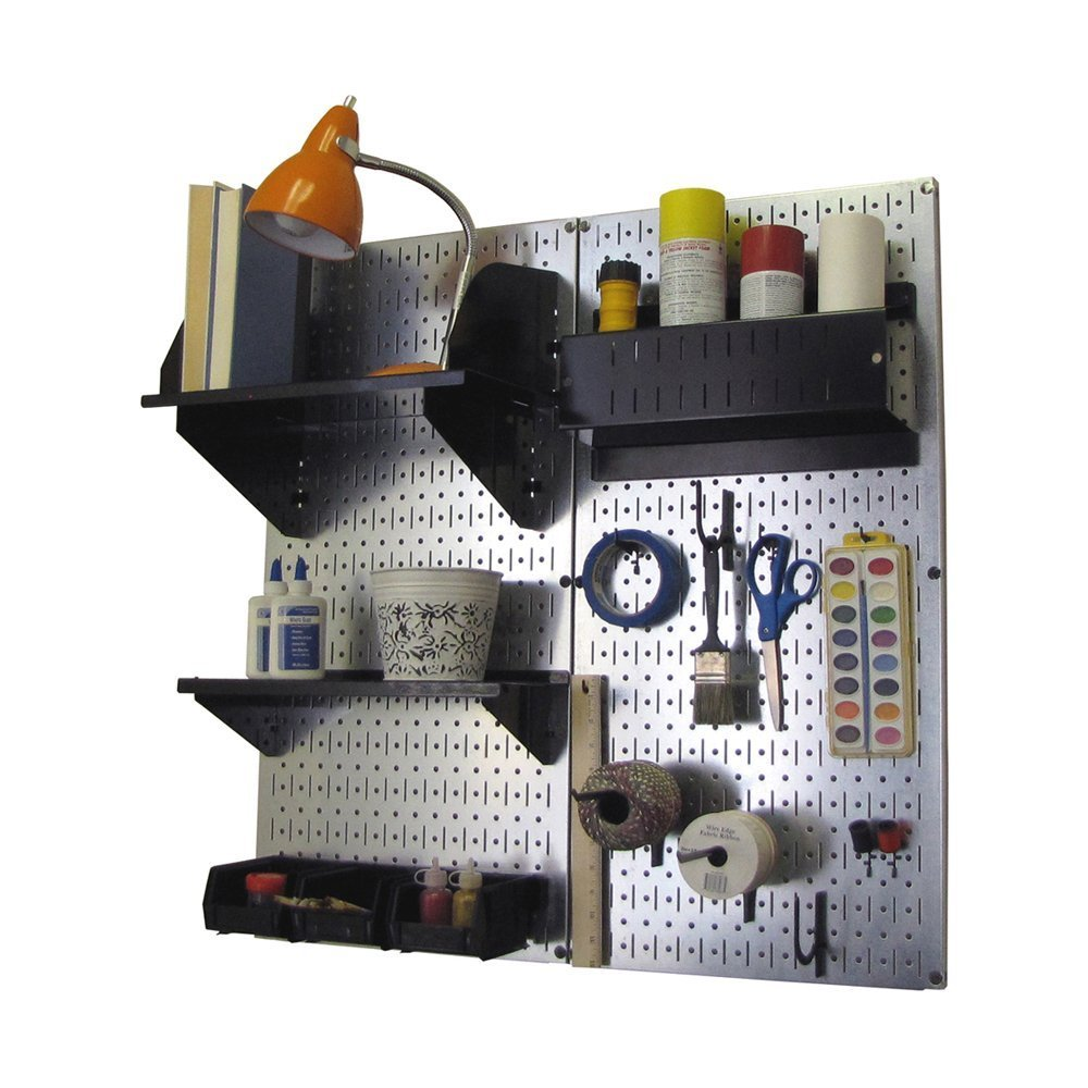 Wall Control Hobby Craft Pegboard Organizer Storage Kit, Metallic/Black