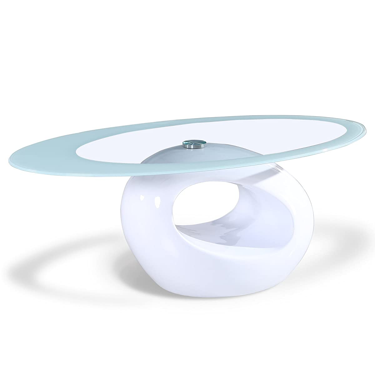 SUNCOO Coffee End Side Table with Shelves Living Room Furniture Oval Shape Tempered Clear Glass Top Gloss White