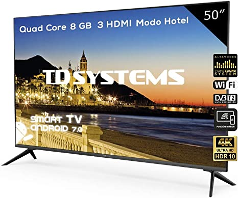 Televisor Led 50 Pulgadas Ultra HD 4K Smart, TD Systems K50DLX9US. Resolución 3840 x 2160, HDR10, 3X HDMI, VGA, 2X USB, Smart TV.: Amazon.es: Electrónica