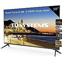 Televisor Led 50 Pulgadas Ultra HD 4K Smart, TD Systems K50DLX9US. Resolución 3840 x 2160, HDR10, 3X HDMI, VGA, 2X USB, Smart TV.