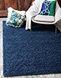Unique Loom Solid Shag Collection Navy Blue 8 x 10 Area Rug (8' x 10')