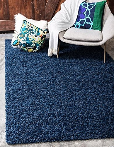Navy Blue Four (Unique Loom Solid Shag Collection Navy Blue 4 x 6 Area Rug (4' x 6'))