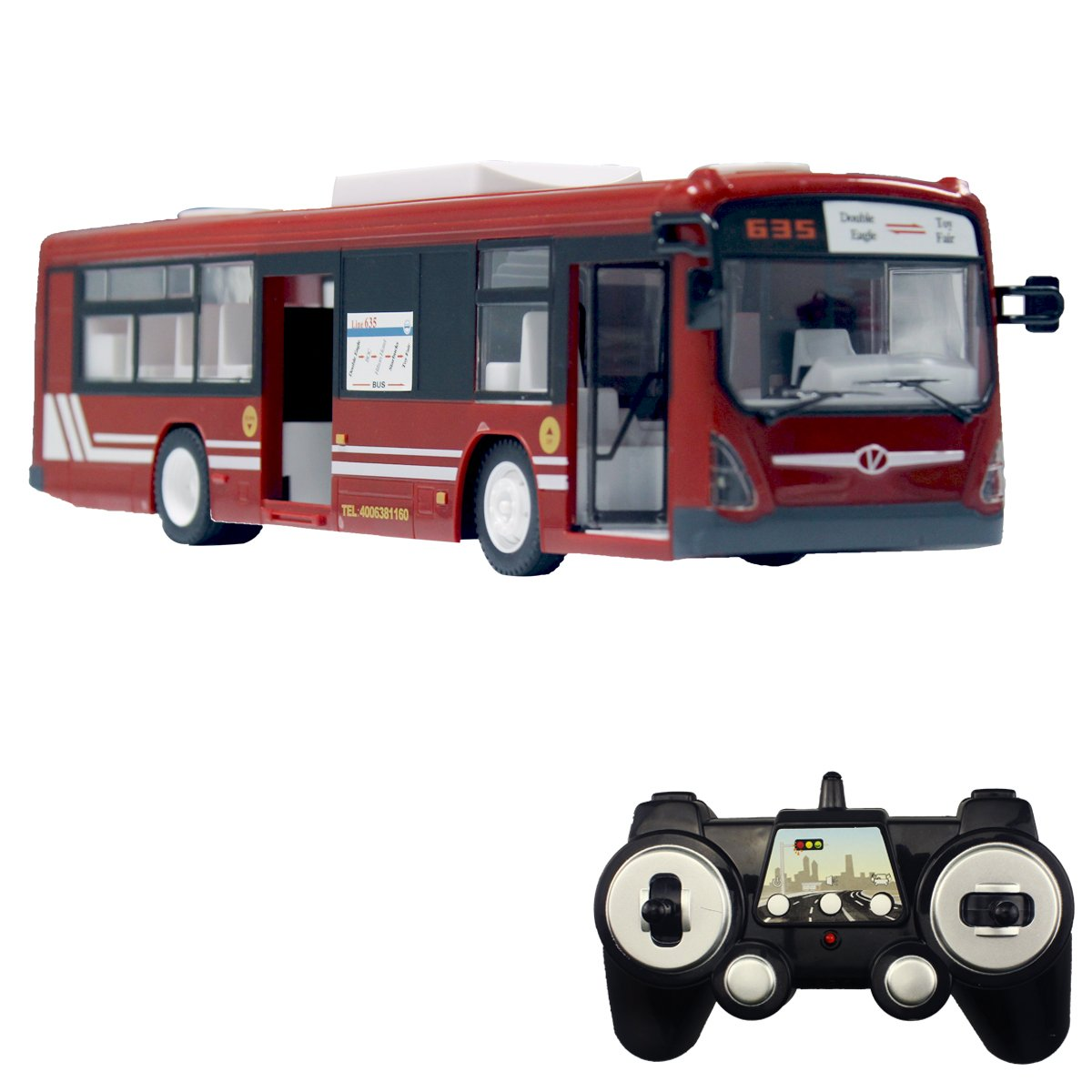 Fisca RC City Bus Remote Control Vehicles, 6 Ch 2.4G Opening Doors and Acceleration Function Toys Electronic Hobby Truck with Simulation Sound and Flashing Light (Red)