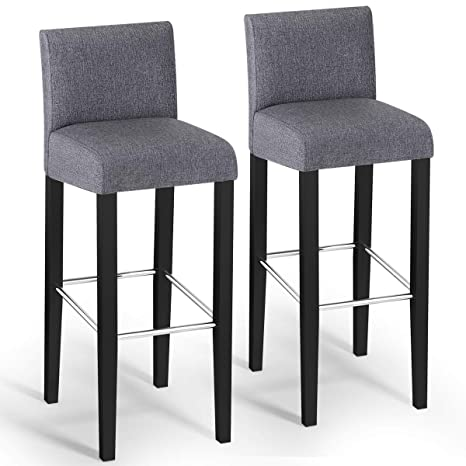 Groovy Costway Bar Stool Modern 40 Contemporary Bar Stool With Height Fabric Padded Backrests And Seats Barstools With Solid Wood Legs Pub Bistro Kitchen Forskolin Free Trial Chair Design Images Forskolin Free Trialorg