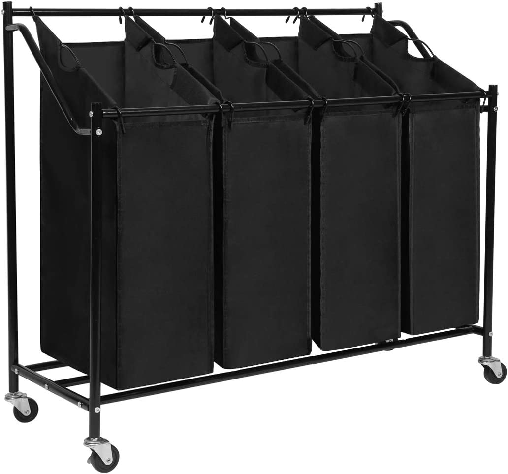 Meerveil Laundry Baskets Laundry Sorter Laundry Trolley on wheels, Laundry bin with 4 Removable Durable Fabric Bags, Sturdy Metal Frame (Black 02)