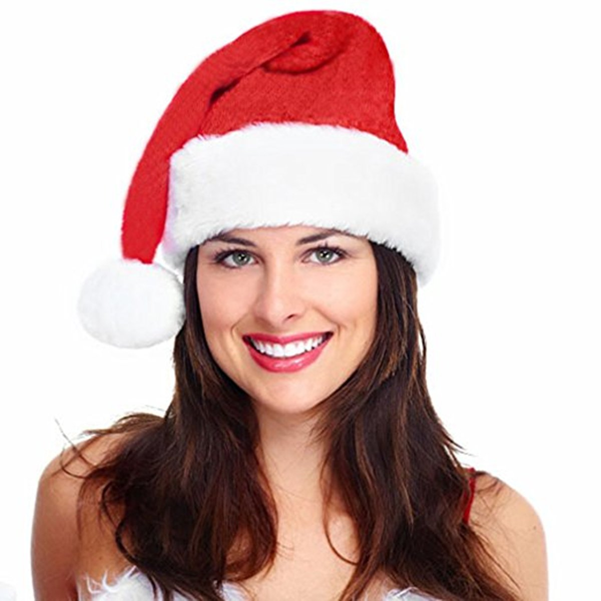 MAIPOETYRY Santa Hat-Christmas Costume Classic Hat for Adult, Red/White