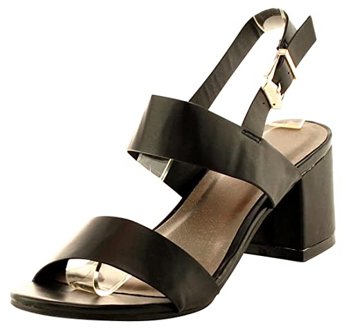 Women Chunky Block Heel Open Toe Buckle Strappy Dating Sandals Shoes Size US 9