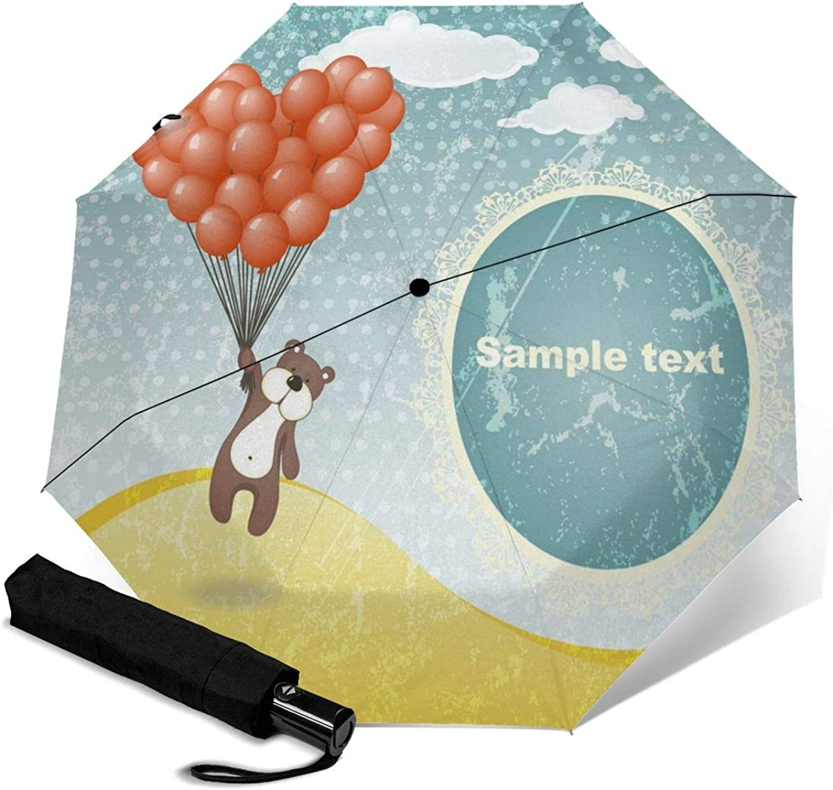 Cute Teddy Bear With A Balloon Compact Travel Umbrella Windproof Reinforced Canopy 8 Ribs Umbrella Auto Open And Close Button Personalized