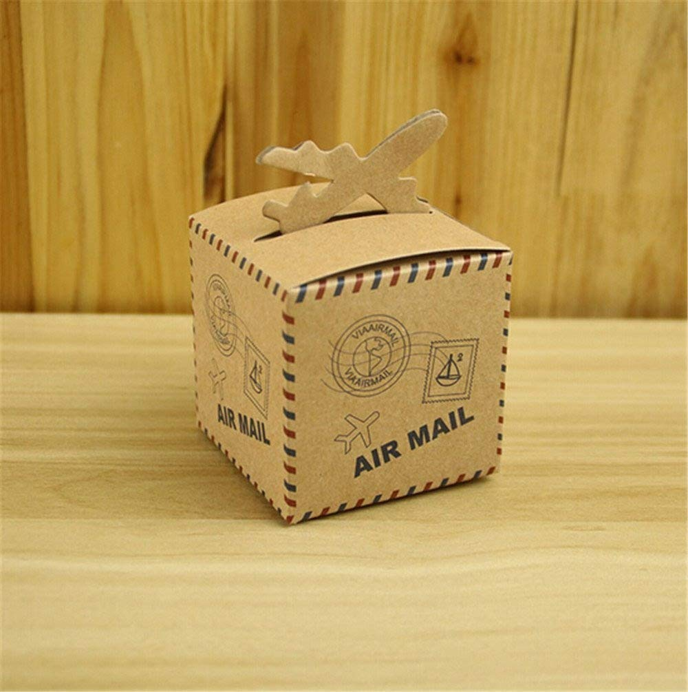 BUYBUYMALL 50Pcs Wholesale Vintage Airplane Shape Party Favor Boxes Creative Brown Paper Candy Gift Box by BUYBUYMALL