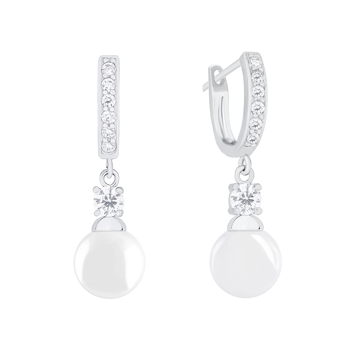 18k Gold Plated Round Simulated Shell Pearl with Cubic Zirconia Accent Drop Earrings (9-9.5 mm)