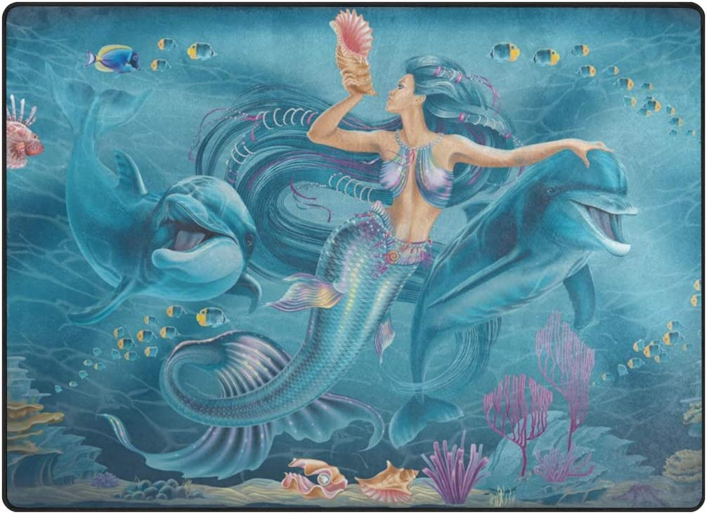 Naanle Mermaid Dolphins Ocean Sea Non Slip Area Rug for Living Dinning Room Bedroom Kitchen Mermaid Dolphins Nursery Rug Floor Carpet Yoga Mat 50 x 80 cm 1.7 x 2.6 ft
