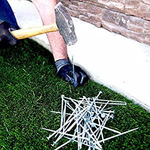 """USA MADE Synthetic Grass Landscape, 5.5"""" Stakes, 5 lb Boxed Spikes for Securing Artificial Turf Products (AN AVERAGE OF 25% MORE NAILS!) Approximately 150 Nails Per Bag"""