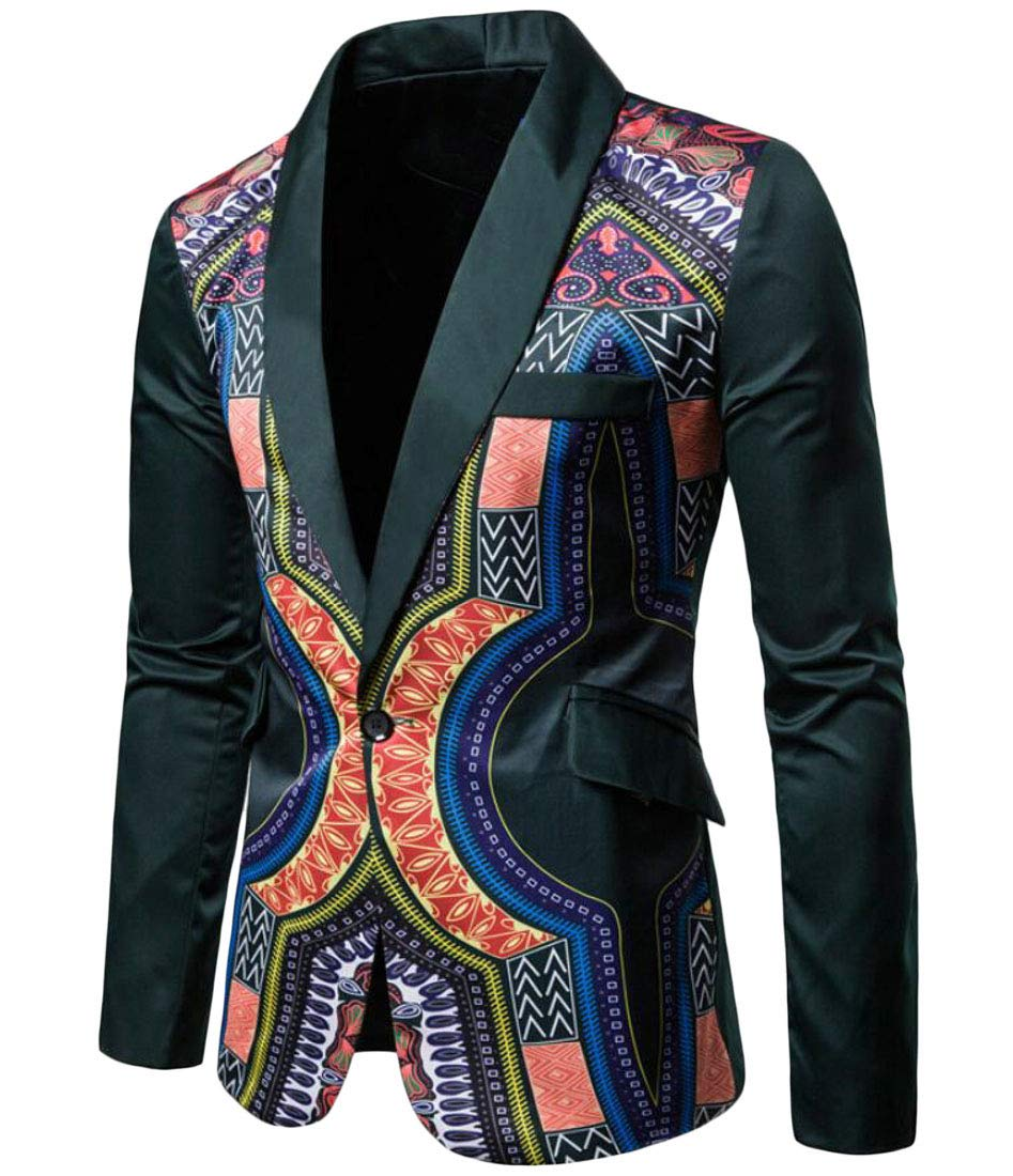 Domple Men Slim Fit One Button Lapel African Print Dashiki Blazer Suit Jackets Green XL