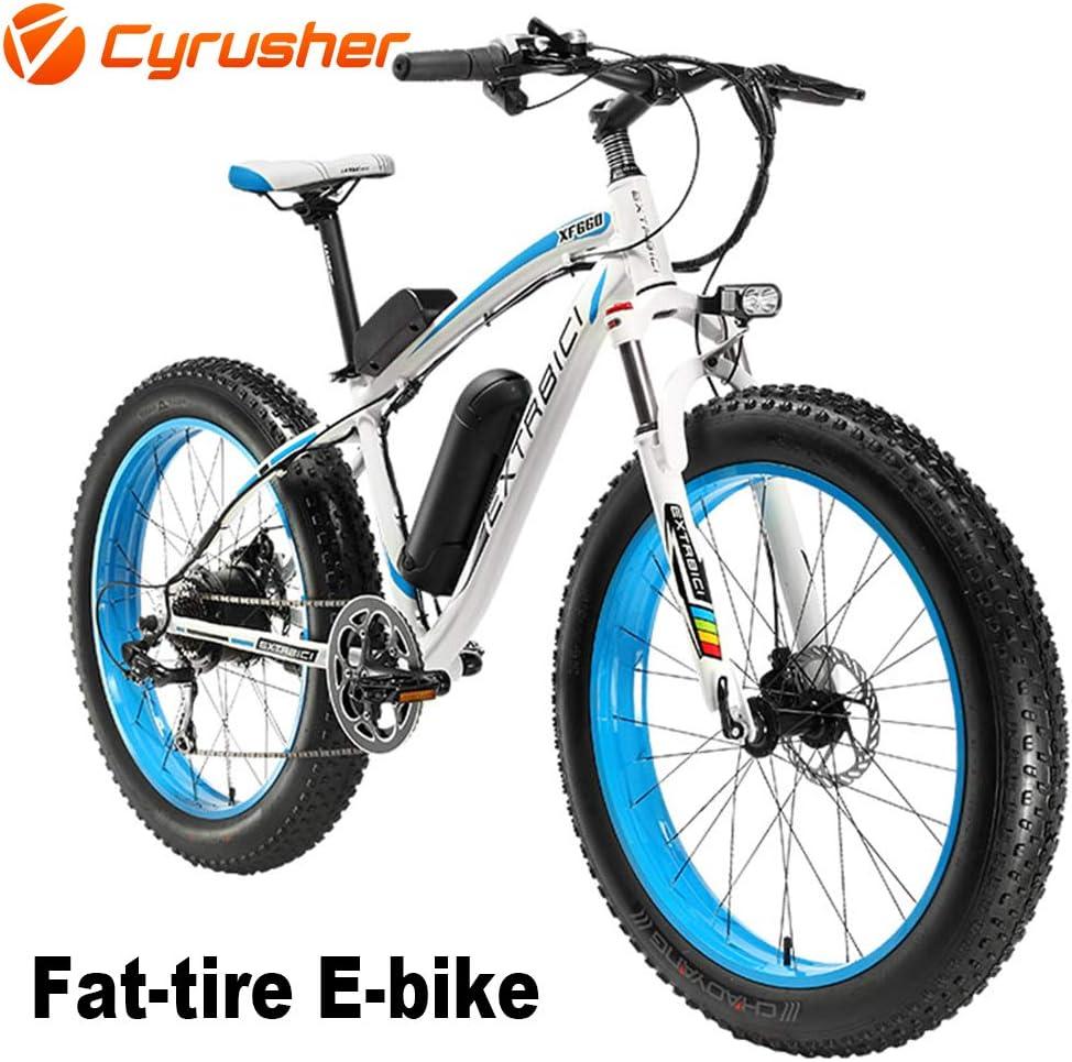 Cyrusher® Extrbici XF660 48V 500 vatios Blanco Azul Mens Bicicleta ...