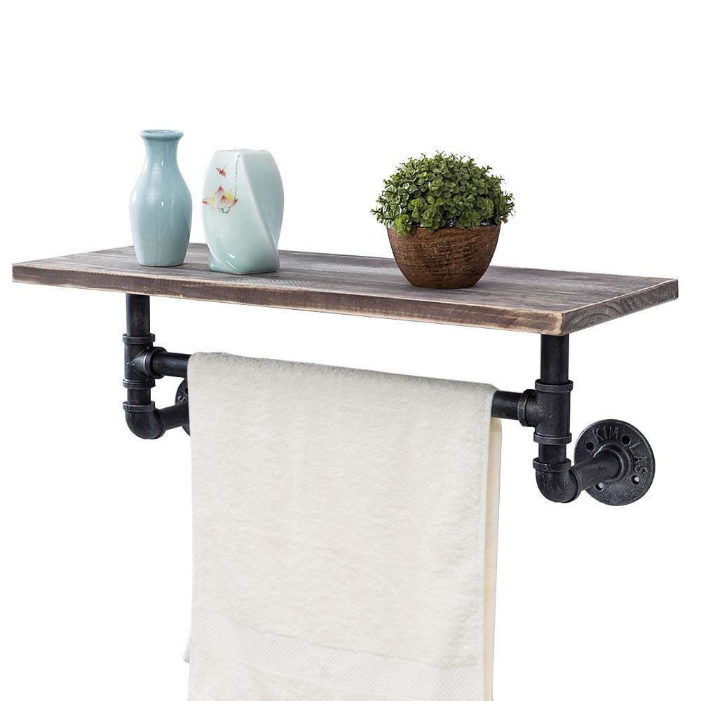 Bathroom Shelves Wall Mounted 1 Tiered,24in Industrial Pipe Shelving,Rustic Wood Shelf With Towel Bar,Black Farmhouse Towel Rack,Metal Floating Shelves Towel Holder,Iron Distressed Shelf Over Toilet