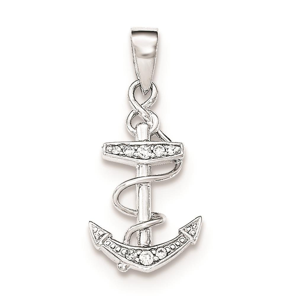 925 Sterling Silver CZ Anchor Polished Flat-back Charm Pendant