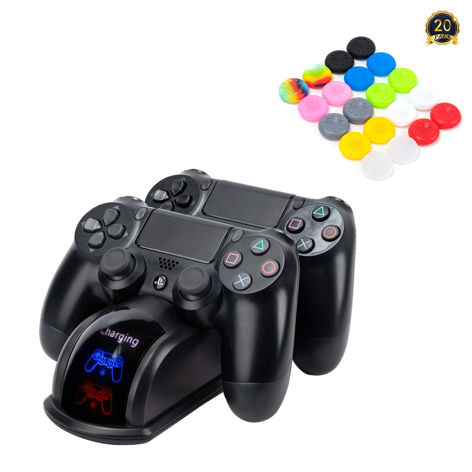 My Genik Controller Charger for PS4/PS4 Slim/PS4 Pro,Fast Charging Station Dock for DualShock 4 Controller,Double Charging Station Stand, Come with 20 PCS Colorful Silicone Thumb Grips