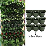 Sungmor 3 Pocket with 3 Liner Vertical Hanging Living Wall Planter,Worth Gardening Self Watering Flower Pots,Indoor and Outdoor Decoration(3 Sets Pack)
