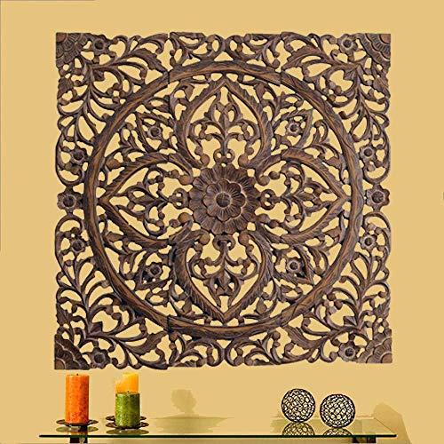 Large Hanging Plaque (Artesia Wooden Designer Wall Hanging Plaques | Wall Plaque Wall with Dark Finish Set of 3 | 36 x 36 inch)