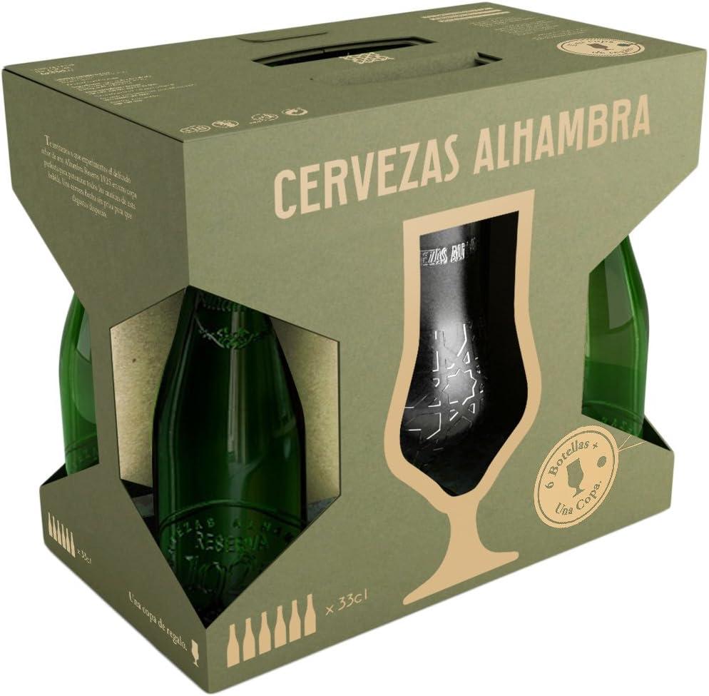 Alhambra Reserva 1925 Cerveza Nacional Extra - Estuche de 6 Botellas x 33 Cl con Regalo de una Copa - Total: 198 Cl: Amazon.es: Alimentación y bebidas