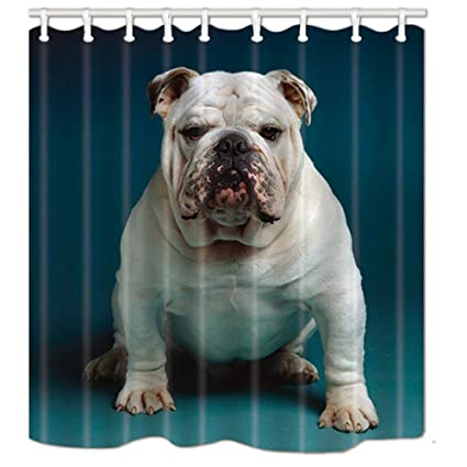 Afagahahs A Strong British Bulldog Pet For Family Bath Curtain Polyester Fabric Waterproof Shower