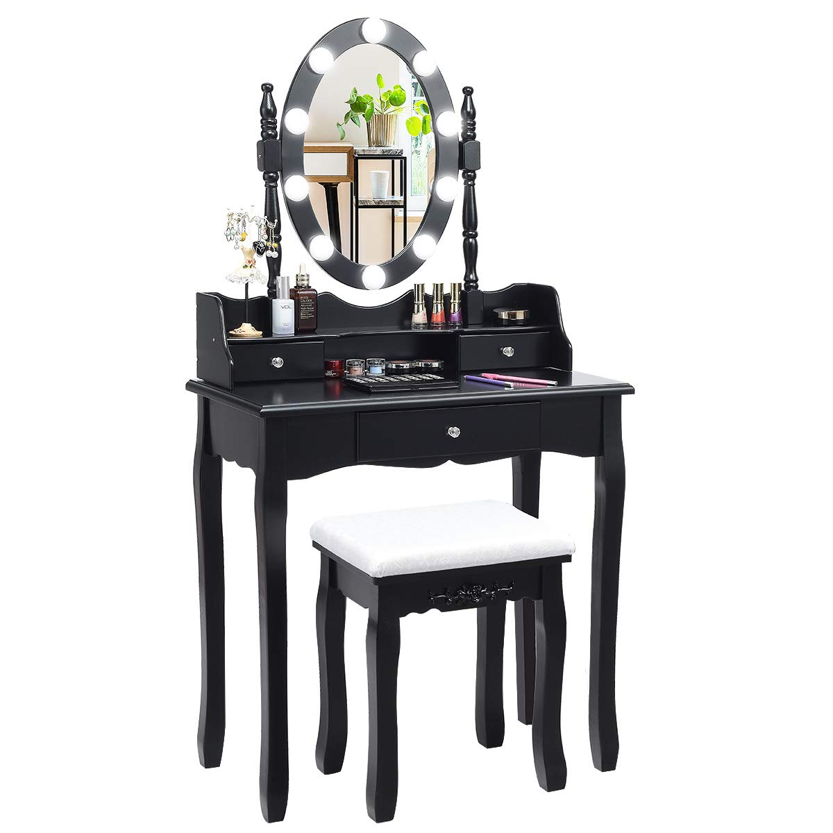 CHARMAID Vanity Set with Lighted Oval Mirror, Makeup Dressing Table with 10 LED Dimmable Bulbs and 3 Drawers, Modern Makeup Table with Cushioned Stool for Bedroom Bathroom Black
