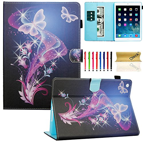 Features Snap (iPad Air Case, Dteck(TM) Fashion Art Prints Leather Flip Stand Smart Cover with Auto Wake/Sleep Feature Magnetic Snap for Apple iPad Air /iPad 5th 9.7 inch 2013 Model, Purple Butterfly)