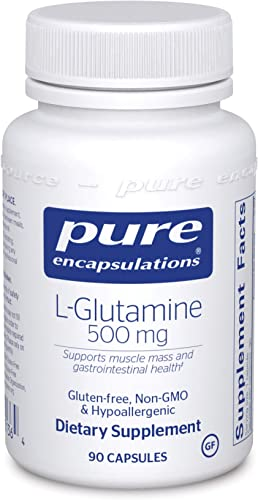 Pure Encapsulations – l-Glutamine 500 mg – Hypoallergenic Supplement Supports Muscle Mass and Gastrointestinal Tract – 90 Capsules