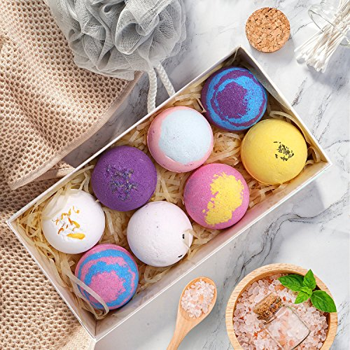 Review Bath Bombs Gift Set – 8 Luxury Vegan Bubble Fizzies, Relaxation Bath Bomb Kit – Relaxing Spa Gifts For Women – Unique Birthday & Beauty Products