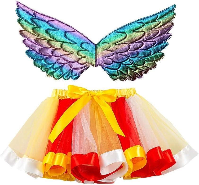 Niña Falda de Tul Navideña ala del Ángel del Arco Iris Falda Tul ...