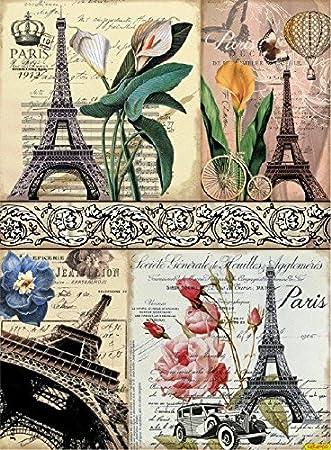 Papel de Arroz Cadence Postales Torre Eiffel Ref. 370: Amazon.es ...