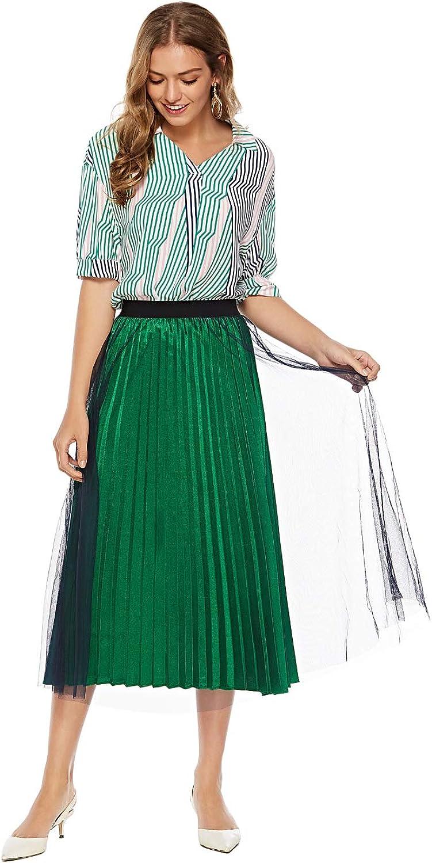 YUNWAI Womens Short Sleeve Stripe Cotton Shirts Business Blouse