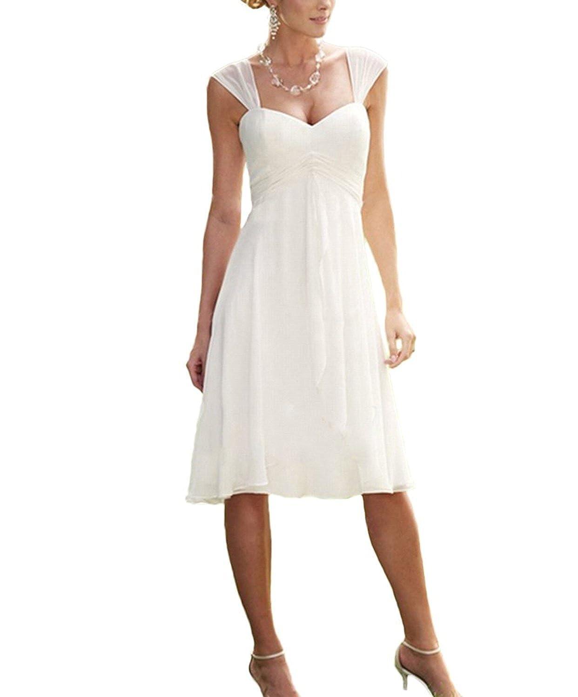 Nanger Damen Chiffon Hochzeitskleider Kurze Standesamt mit Riemen Boho Brautkleider Strand