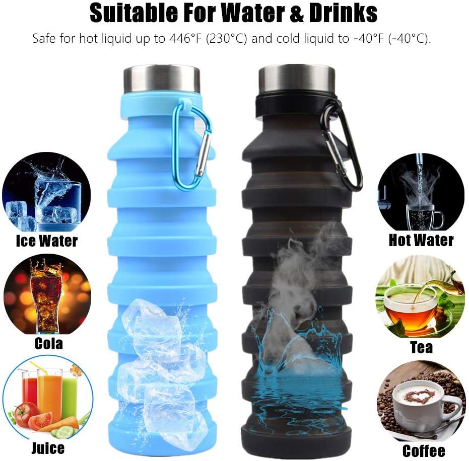 CARBASIS Botella de Agua Plegable de Silicona port/átil para Deportes al Aire Libre Reutilizable con mosquet/ón Flexible Plegable Ampliable 550 ml Plegable