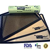 bread griller - PhatMat Silicone Baking Mat (2 pack) plus (1) Grill Mat-Half Sheet, Silicone liner for Bake Pans & Grills-Pastry,Cookie,Bread Making