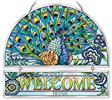 Amia 42021 Hand Painted Beveled Glass Welcome Panel, 12 by 11-Inch, Peacock Floral Design
