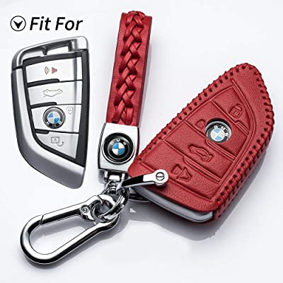 Hey Kaulor for BMW Key Fob Cover, Full Protection Soft Leather Key Fob CaCompatible with X1 X3 se X5 X6 and 5 Series 2020 7 Series 2020 up 2 Series and 6 Series (GT) Keyless Entry,Red: Automotive