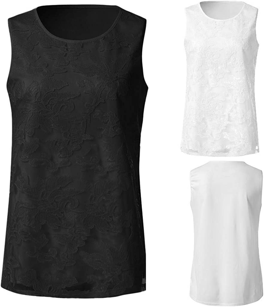 Juesi Sequined Lace Trimmed Tank Tops Ladies Summer Solid Vest Sleeveless T-Shirt Blouse