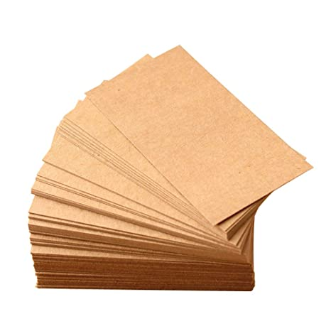EQLEF Blancs De Cartes Kraft Retro Brun Bricolage Papier Notes Visite Vocabulaire Mot