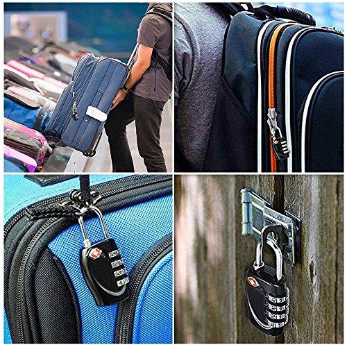 2 x Travel Buddy TSA Security Padlock - 4-dial Combination Travel Suitcase Luggage Bag Code Lock (BLACK) - LIFETIME WARRANTY