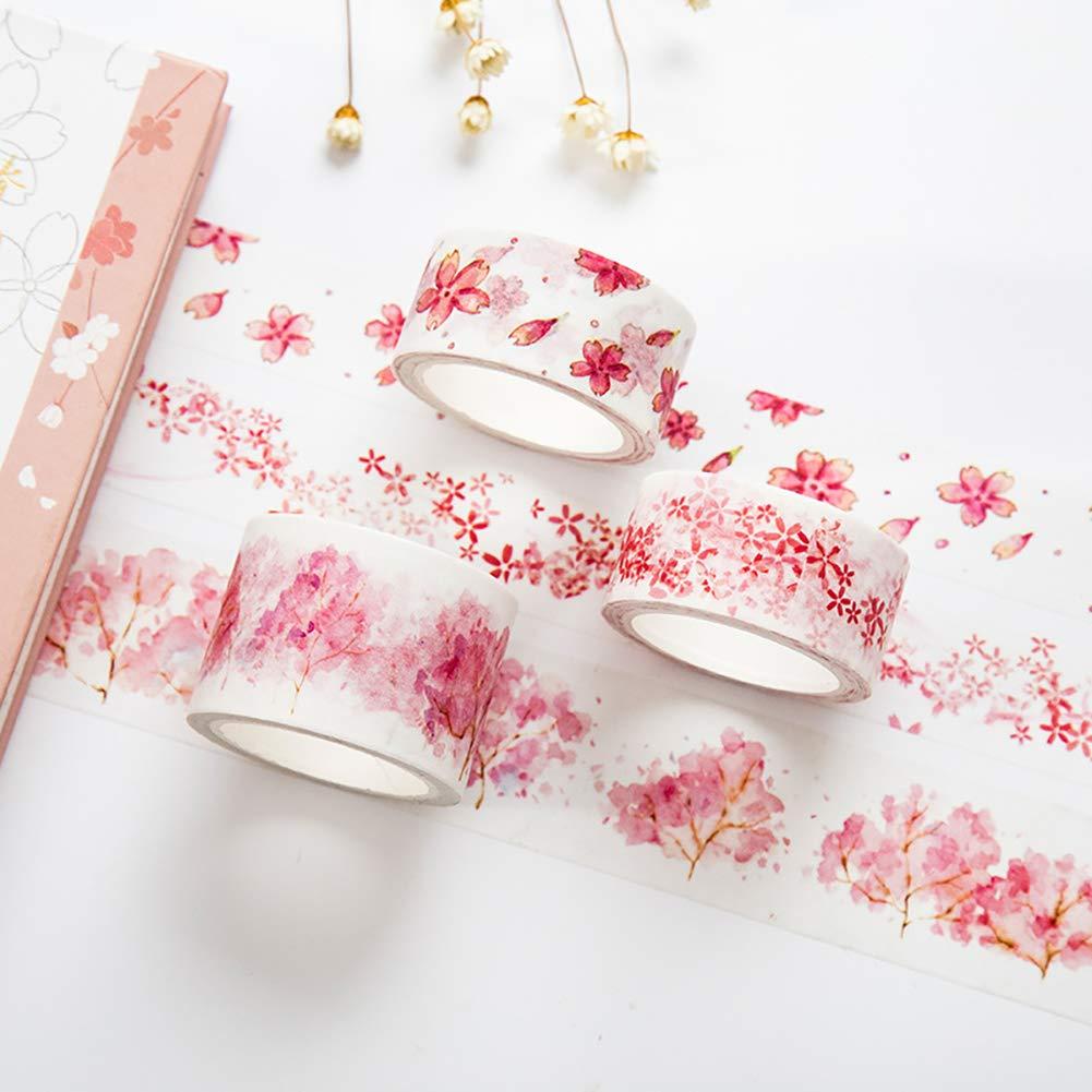Deanyi La flor de cerezo de enmascaramiento de la cinta adhesiva cinta decorativa de papel Cinta adhesiva para el bricolaje y Arte decorativo del embalaje de regalo Falling Sakura
