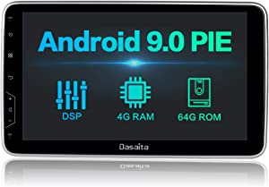 Dasaita 10.2 inch Rotatable Large Screen Double Din Android 9.0 Car Stereo for Any Vehicle with a Double din Slot Radio with GPS Navigation 4G Ram 64G ROM Built in DSP Dash Kit Meomery Card